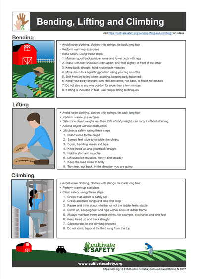 Click here to open Bending, Lifting, and Climbing Fact Sheet PDF in English.