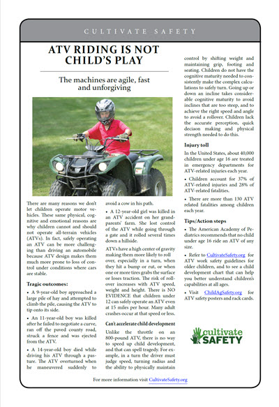 Click here to open the ATV Riding is Not Child's Play prevention brief pdf in English.
