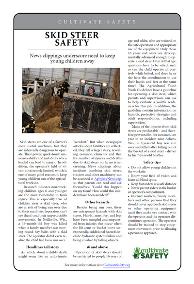 Click here to open the Skid Steer Safety prevention brief pdf in English.
