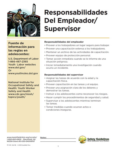 Click here to open Employer and Supervisor Responsibilities PDF in Spanish.