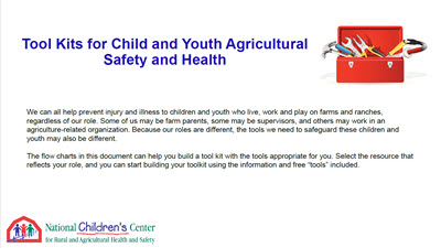 Click here to open Tool Kits for Child & Youth Ag Safety & Health PDF in English.