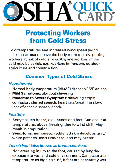 Click here to open OSHA Cold Stress Quick Card PDF in English.
